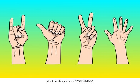 A set of a vector illustration of the isolated gestures by hands