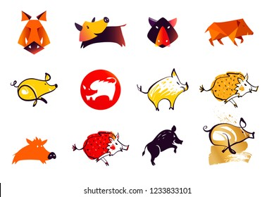 Set vector illustration isolated silhouette hog, pork. Template concept image with pig, boar. Concept template image logo, badge, emblem sign.
