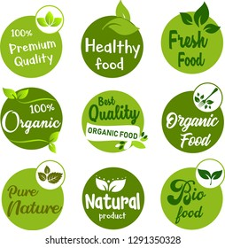 Set of vector and illustration logo label badge for organic food, natural product icons and elements collection for food market, e-commerce, organic natural products promotion and healthy life.