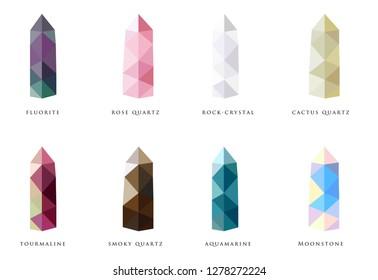 Set of vector illustration of mineral stones: fluorite, moonstone, quartz, rose quartz, cactus quartz, smoky quartz, mountain crystal, tourmaline, aquamarine. Natural gems on white background. Lowpoly