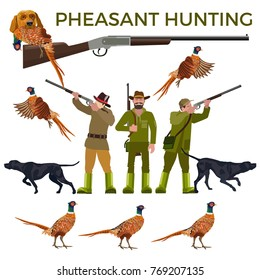 Set of vector illustration for pheasant hunting - hunters, hunting dogs and pheasants. Vector isolated on the white background