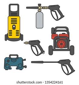 set of vector illustration pressure washer machine electric with spray gun equipment flat design style