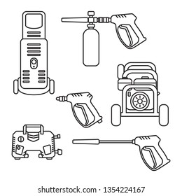 set of vector illustration pressure washer machine electric with spray gun equipment flat design silhouette style