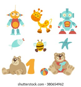 Set vector illustration - pretty baby toys set. Sitting bear with number one, robot with button, yellow bee, starfish, giraffe, fish with red lips, colorful ball