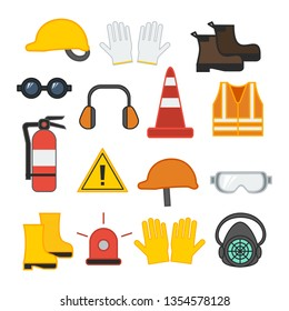 set of vector illustration safety equipment for construction and industrial welding vest glove line caution mask helmet ear flat design