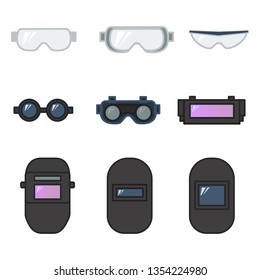 set of vector illustration safety goggles and welding helmet for eye protection in industrial construction and metal working flat design style