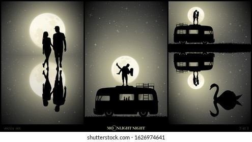Set of vector illustration with silhouette of loving couple in park on moonlit night. Two lovers walk after rain. Guy carry girl on roof of retro car. Swan on lake. Full moon in starry sky