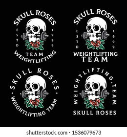 A set vector illustration of a skull biting a barbell with typography
