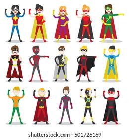 Set of  vector illustration of a superhero. Children dressed as superheroes illustrations