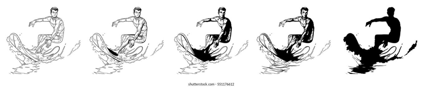 Set vector illustration of a surfer