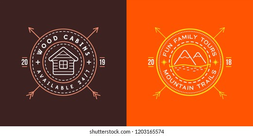 Set of Vector illustration Vintage logo with Wooden cabin. Moutains Sign. Retro print design, stamp. T-shirts, Poster Design.