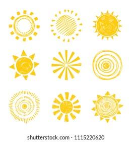 Set of vector illustration yellow sun. Hand drawn image. Season.