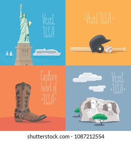 Set of vector illustrations with American symbols and landmarks - statue of liberty, Rushmore mount. Design elements for visit USA, United States of America  concept
