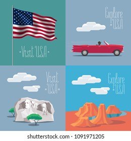 Set of vector illustrations with American symbols and landmarks - Rushmore mount, USA flag, Grand Canyon. Design elements for visit United States of America  concept