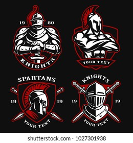 Set of vector illustrations with ancient warriors. Logo design of knights and spartans on dark background.