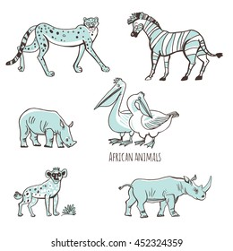 Set of vector illustrations. Animals of Africa in a cartoon style. Isolated on white background. Outline leopards, pelicans, rhinos, hyenas, zebras.