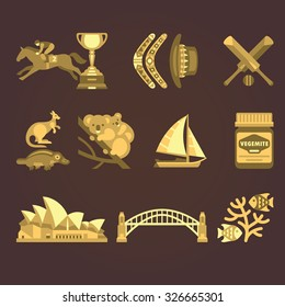 Set of vector illustrations Australia and Sydney in sepia style