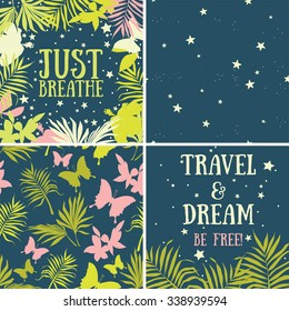 set of vector illustrations: backgrounds and frames for beautiful tropical nights