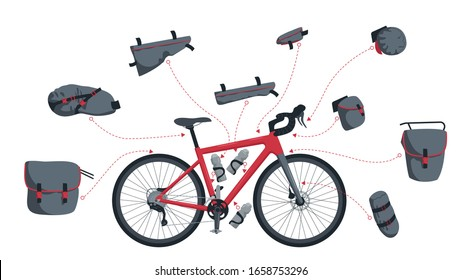 Set of vector illustrations of bags for a tourist bike.Kit of bikepacking bags. Touring bike, gravel bike. A saddle bag, a frame bag, a handlebar bag, a bag on the front and rear trunk. Bicycle bottle