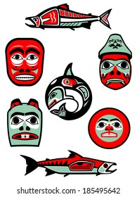 Set of vector illustrations based on Native designs from the Northwest coast of North America.