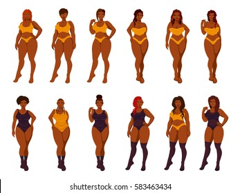 Set of vector illustrations of beautiful plus size women in underwear, bathing suit.