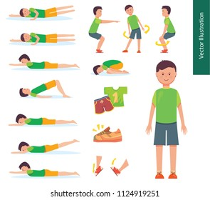 Set of vector illustrations. Boy doing sport warm up exercises, yoga pose and workout. Character poses set.