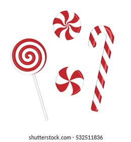 Set of vector illustrations with caramel cane and lollipops. Great for Christmas and New Year party design.