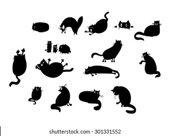 A set of vector illustrations of cat silhouettes.