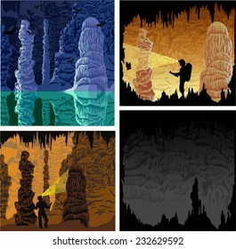 set of vector illustrations of cave with stalactites and stalagmites, girl caver, bats and lake