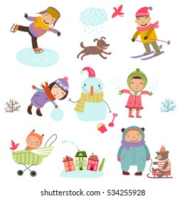 Set of vector illustrations. Children in the winter. Walking, playing, skating, skiing, snowman. Cute characters. Babes on a walk.