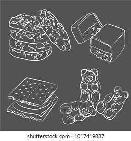 A set of vector illustrations of chocolate chip cookies, chocolate bar, cracker marshmallow sandwich and gummy bears, white sketch on a grey chalkboard