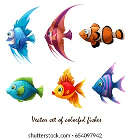 Set of vector illustrations of colorful marine fish isolated on white background. Sea life. Fish clown, red, green fish. Orange fish.