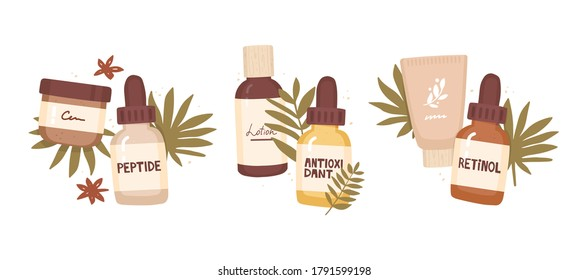 Set of vector illustrations. Cosmetic packaging and tropical leaves. Anti-aging cosmetics. Handwritten inscription antioxidant, peptide, retinol. Active ingredients, dermatology, and cosmetology