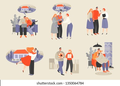 Set of vector illustrations of a couple buying a new home. Choosing a house on the Internet, meeting with a realtor, buying a house, moving and having a happy cozy evening in a new house