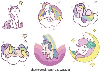 Set of vector illustrations of cute, funny cartoon unicorns isolated on a white background.