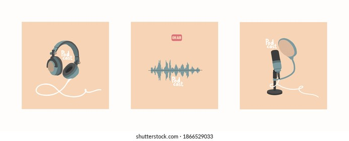 A set of vector illustrations for the design of podcast broadcasts. Studio microphone on a stand, headphones, soundtrack. Hand-drawn style, pastel colors. Perfect for a podcast blog. EPS 10