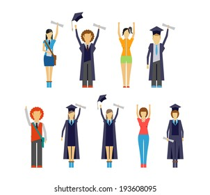 Set of vector illustrations of diverse cheering students and graduates receiving their certificates and diplomas
