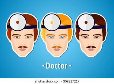 Set of vector illustrations of a doctor. Doctor. The man's face. Icon. Flat icon. Minimalism. The stylized Man. Occupation. Job. Uniforms, cap.