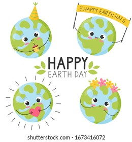 Set vector illustrations for Earth Day. Cute flat design