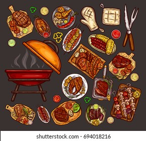 Set of vector illustrations, elements for barbecue with brazier, BBQ accessories, grilled food, various meat, sausages, vegetables and sauces isolated on gray. Print, template, design element