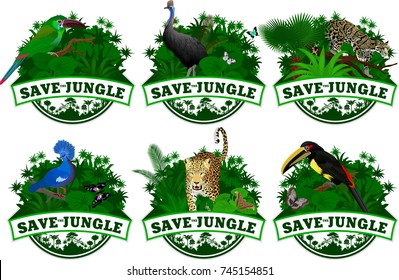 set of vector illustrations emblems save jungle with animals