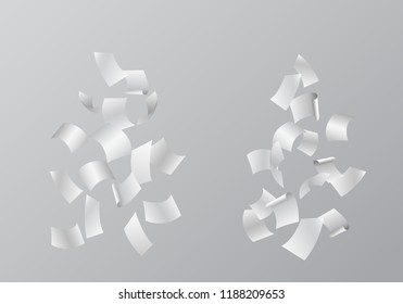 Set of vector illustrations of falling white sheets of paper, isolated on gray background