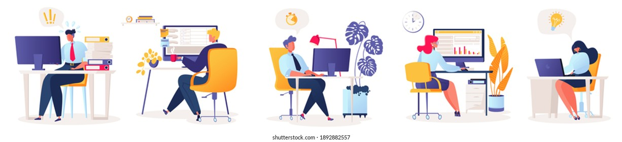 Set of vector illustrations with flat cartoon characters working in office, co-working space or remotely at home, freelance, self-employment. People work at computers and laptops in modern interior.