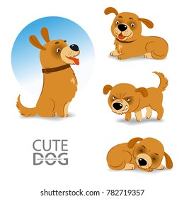 A set of vector illustrations of funny little dog in different emotional states with different face expressions in cartoon style
