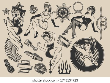 Set of vector illustrations with girls with elements for design on the themes of pin-up girls, marine design, rockabilly, Halloween.