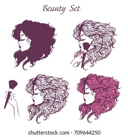Set of vector illustrations of a girl's head in profile with long curly hair. Beautiful logo for a beauty salon.
