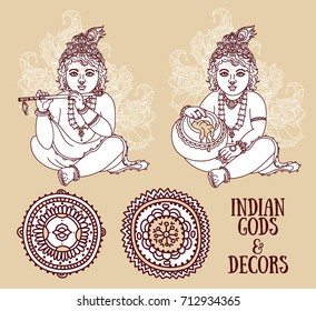Set of vector illustrations with Little Krishna and ethnic ornaments