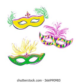 Set of vector illustrations of Mardi Gras masks with jewels and feathers. Hand drawn doodle elements in green, pink, yellow and violet colors. Three colored elements isolated on white background.
