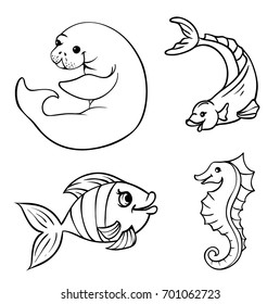 Set of vector illustrations of marine life. Contour drawings of fishes isolated on a white background. The characters are manatee, fish and seahorse