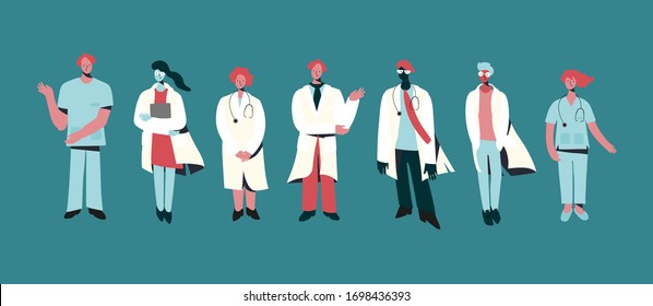 Set of vector illustrations of medical specialists, doctors and nurses. Modern flat vector concept digital illustration of medical office or laboratory workers in minimal style. Doctors Team concept
